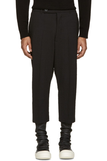 Rick Owens - Black Textured Cropped Astaires Trousers