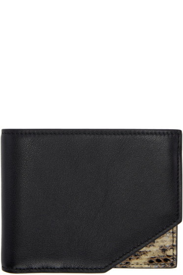 Jil Sander - Black Leather & Python Bifold Wallet