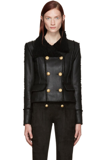 Balmain - Black Shearling Jacket