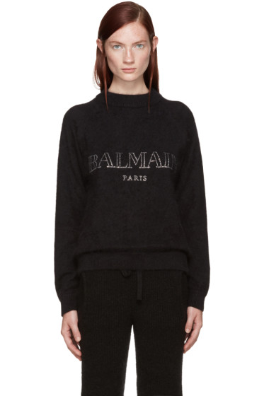 Balmain - Black Angora Logo Sweater