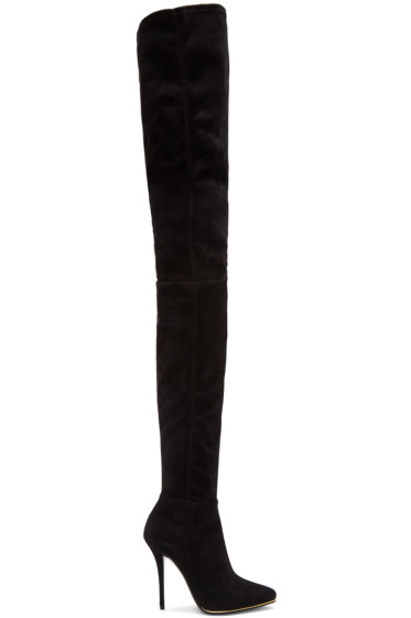 Balmain - Black Suede Catherine Over-the-Knee Boots