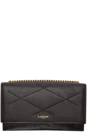 Lanvin - Black Leather Chain Wallet