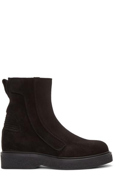 Lanvin - Black Suede Zip-Up Boots