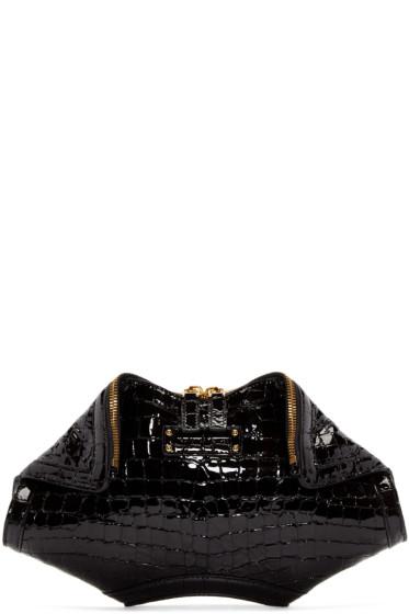 Alexander McQueen - Black Croc-Embossed Small De Manta Clutch