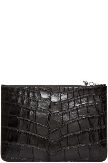 Alexander McQueen - Black Croc-Embossed Pouch