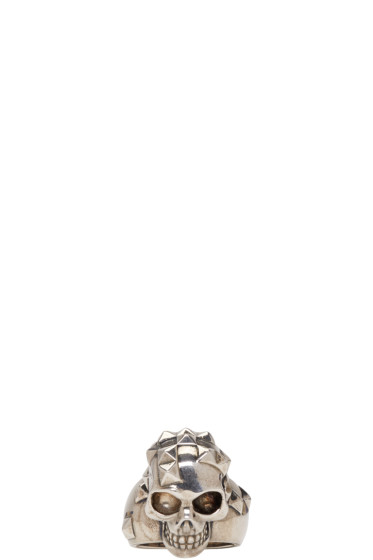 Alexander McQueen - Silver Brass Studded Skull Ring
