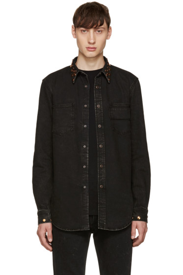 Givenchy - Black Denim Studded Shirt