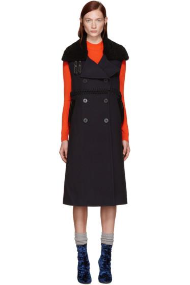3.1 Phillip Lim - Navy Wool & Shearling Vest