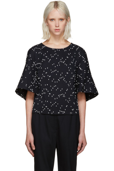 3.1 Phillip Lim - Navy Cropped Bouclé Top