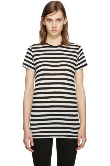 Proenza Schouler - Black & Ecru Striped T-Shirt