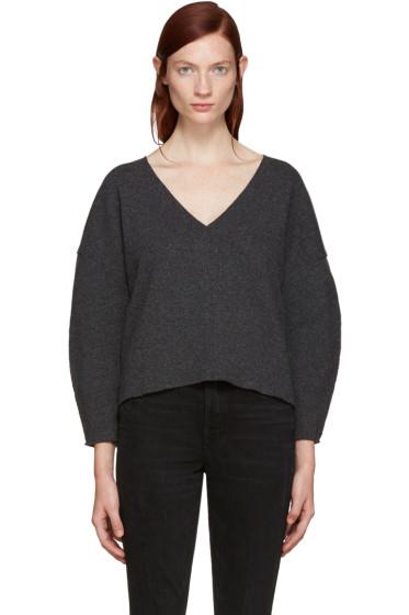BLK DNM - Grey Wool V-Neck Sweater