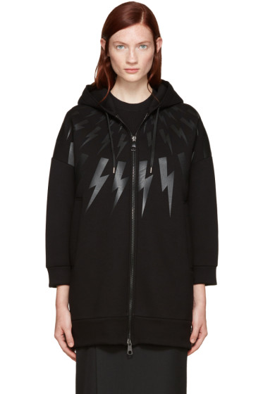 Neil Barrett - Black Long Thunderbolt Hoodie