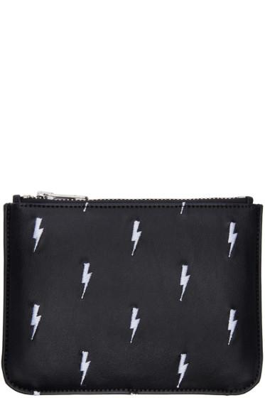 Neil Barrett - Black Embroidered Thunderbolt Pouch