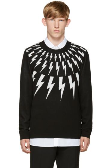 Neil Barrett - Black & White Thunderbolt Sweater