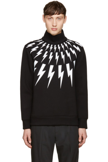 Neil Barrett - Black Thunderbolt Turtleneck