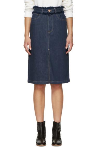 See by Chloé - Blue Fringed Denim Skirt