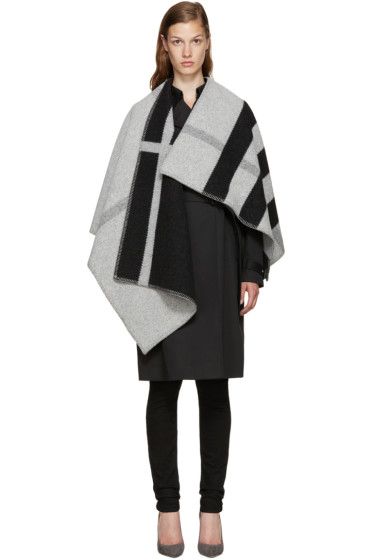 Burberry - Black & White Mega Check Cape