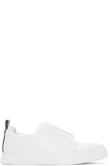 Pierre Hardy - White Leather Slip-On Sneakers