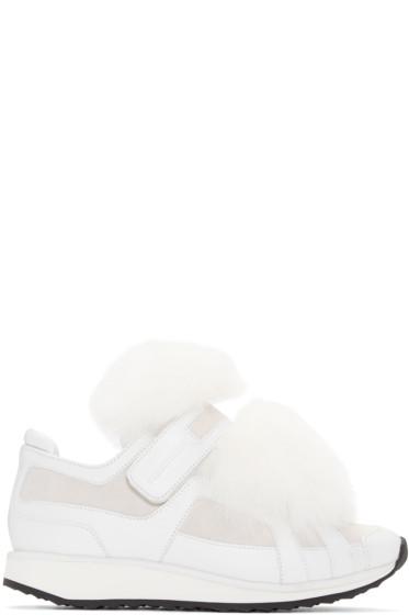 Pierre Hardy - White Fox-Trimmed Slip-On Sneakers