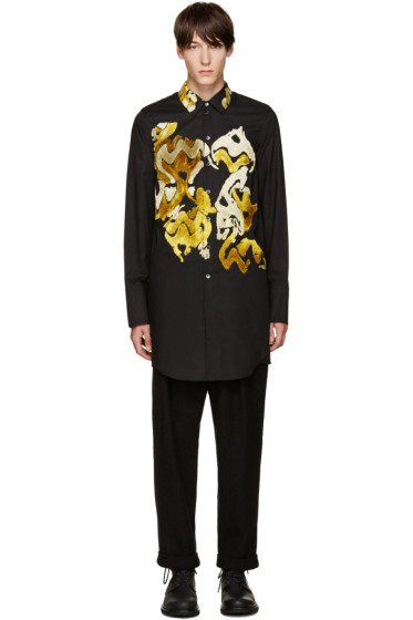Ann Demeulemeester - Black Flocked Velvet Shirt