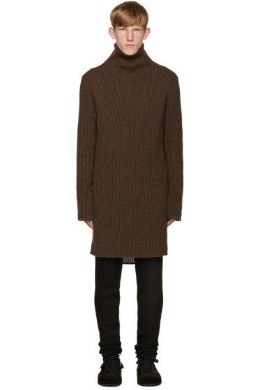 Ann Demeulemeester - Brown Knit Turtleneck