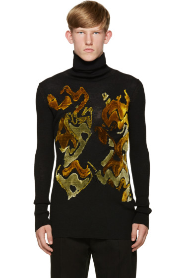 Ann Demeulemeester - Black Flocked Turtleneck