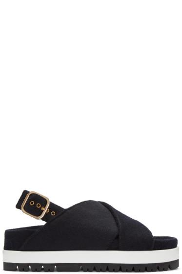 Marni - Navy Felt Crossover Sandals