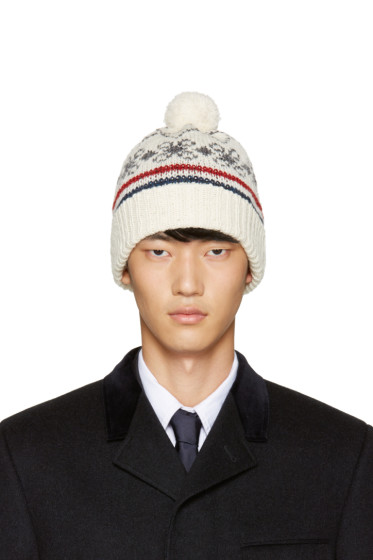 Thom Browne - Off-White Patterned Beanie