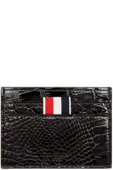 Thom Browne - Black Alligator Card Holder