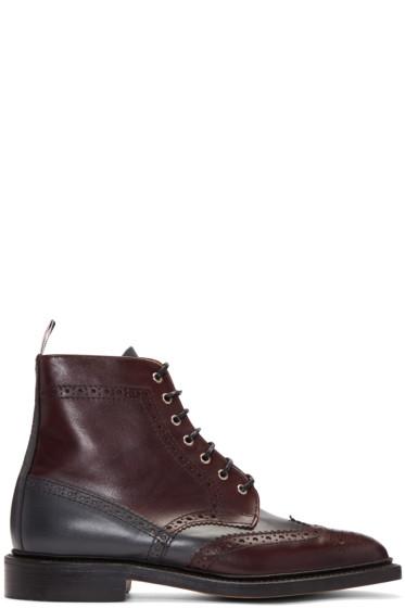 Thom Browne - Burgundy Classic Wingtip Boots