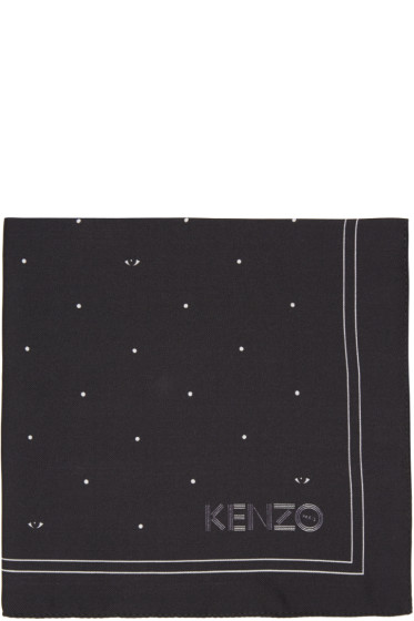 Kenzo - Black Printed Pocket Square