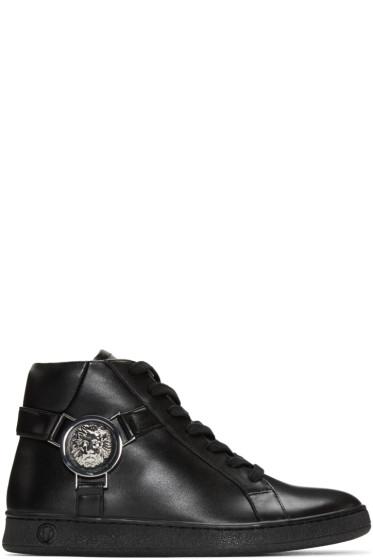 Versus - Black Leather High-Top Sneakers