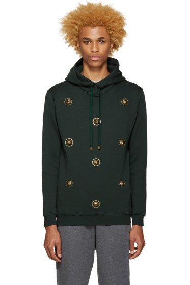Versus - Green Lion Buttons Hoodie
