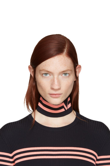 Versace - Navy Athletic Stripes Collar