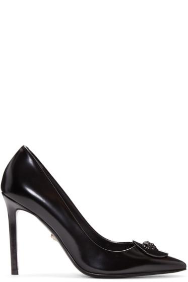 Versace - Black Leather Medallion Heels