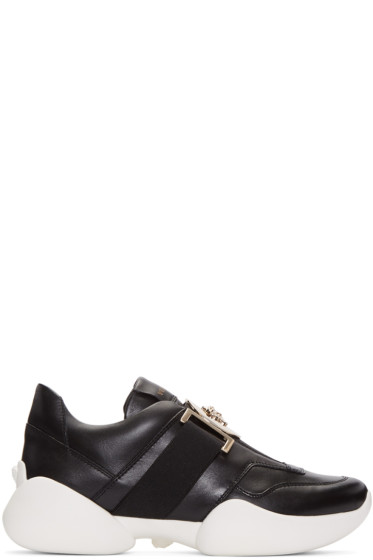 Versace - Black Medallion Slip-On Sneakers