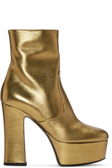 Saint Laurent - Gold Platform Candy Boots