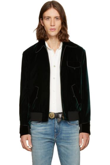 Saint Laurent - Green Velvet Teddy Bomber Jacket