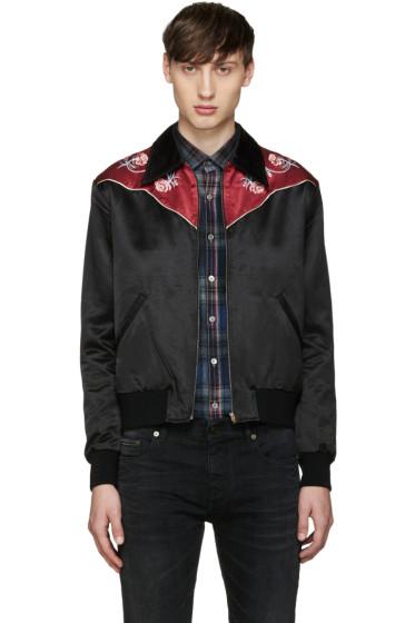 Saint Laurent - Black Rose Teddy Jacket