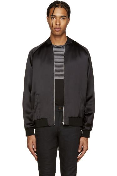 Saint Laurent - Black Embellished Bomber Jacket