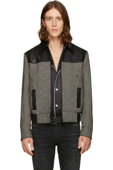 Saint Laurent - Black & White Houndstooth Teddy Jacket