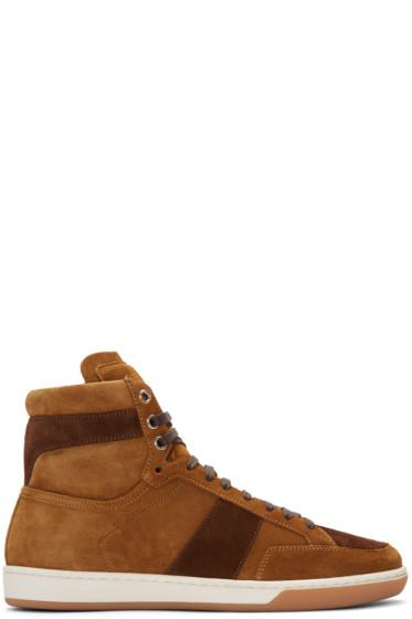 Saint Laurent - Tan Suede Court Classic High-Top Sneakers