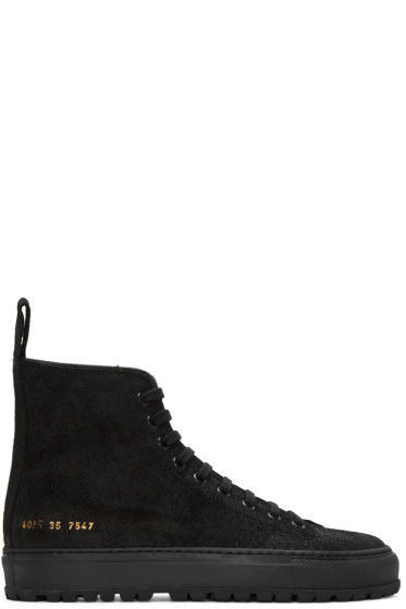 Woman by Common Projects - SSENSE Exclusive Black Tournament High-Top Sneakers