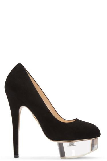 Charlotte Olympia - Black Suede & Perspex Dolly Heels