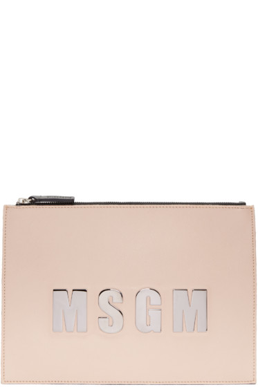 MSGM - Pink Leather Logo Pouch