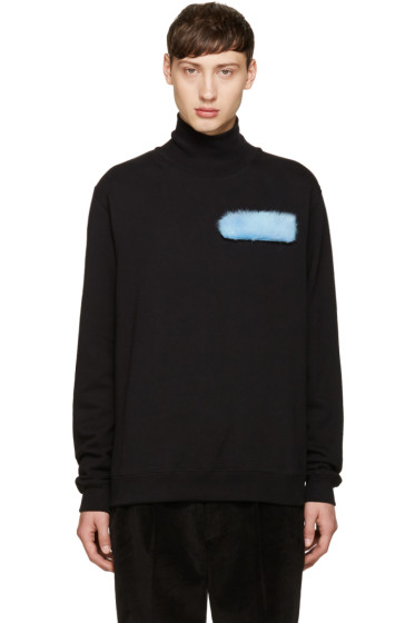 MSGM - Black Fur Patch Turtleneck