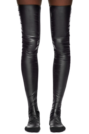 Sacai - Black Tall Faux-Leather Socks