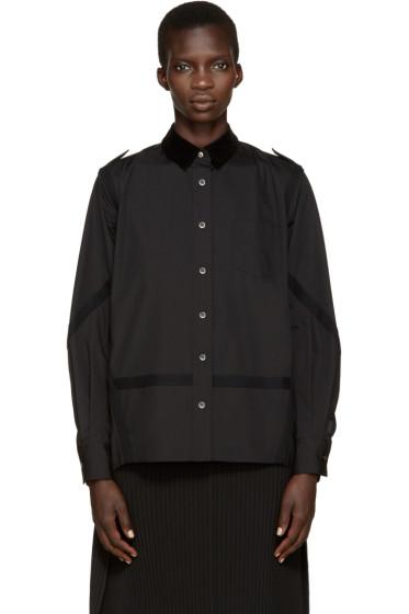 Sacai - Black Velvet Collar Pleated Shirt