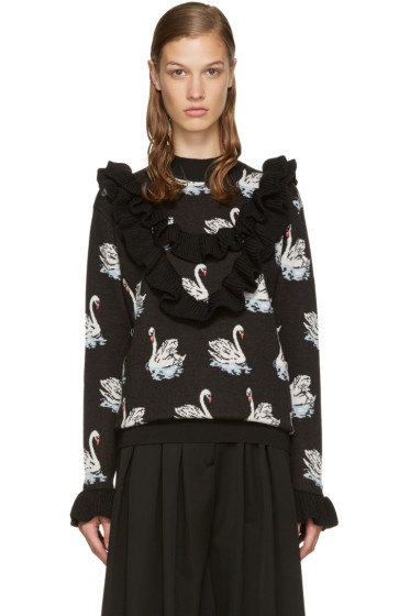 Stella McCartney - Black Ruffle Swan Sweater