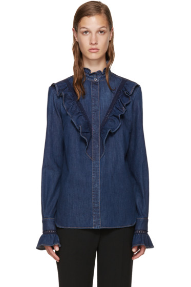 Stella McCartney - Blue Denim Ruffled Shirt